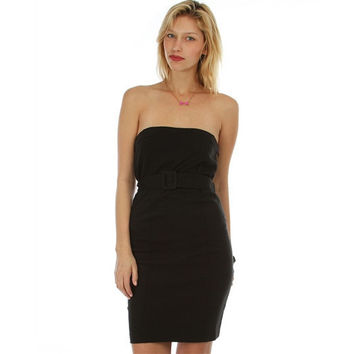 Strapless Dress With High Waist Belt