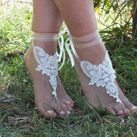bridal anklet, Beach wedding barefoot sandals, bangle, wedding anklet, anklet, bridal, wedding. french lace. free ship