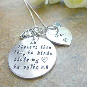 So there's this boy, he kinda stole my heart he call me Nana Necklace Personalized Necklace Grandma Mother Aunt Necklace