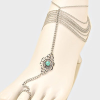 Turquoise Floral Beaded Fringe Barefoot Sandals, Delicate Boho Coin Foot Chain - Silver