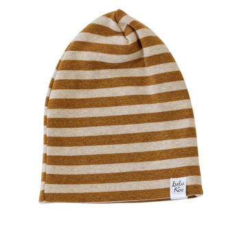slouchy baby beanie, mustard stripe beanie, baby boy toboggan, slouchy knit hat, slouchey infant hat, hipster baby boy, slouch baby hat