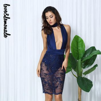 Love&Lemonade Navy Deep V-Neck Cutout Flower Vines Sequined Dress TB 10039