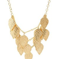 Gold Tiered Leaf Bib Necklace by Charlotte Russe