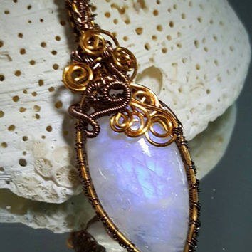 Marquis Cut Rainbow Moonstone wire weave pendant necklace,  Stunning Moonstone with Bronze and copper wire,  Etsy gifts, TEMPT team