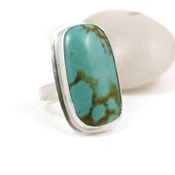 Turquoise Ring Sterling Silver Size 8 One of a Kind Chunky Jewelry - Growth Ring
