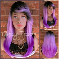 READY To SHIP //Long Ombre Purple Full Wig, Layered Wig With Bangs, Dark Rooted, Light Yaki Textured Wig// VIRTUE (Free Shipping)