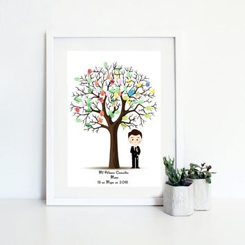Custom Name Date Place First Holy Communion Souvenir For Boy Fingerprint Tree Guestbook For Baptism Decoration Birthday Gift