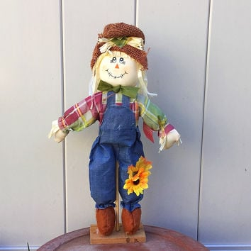 Scarecrow in Overalls and Sunflower Cloth Figure