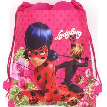12Pcs Miraculous Ladybug Cat Noir Non-Woven Fabric Backpack Kids Favors Drawstring Bags Baby Shower Party Traveling Bags Gift