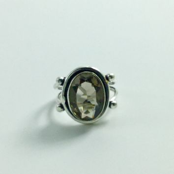 Smoky Quartz Sterling Silver Ring size 7