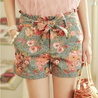 High Waisted Flower Jeans Shorts for Summer