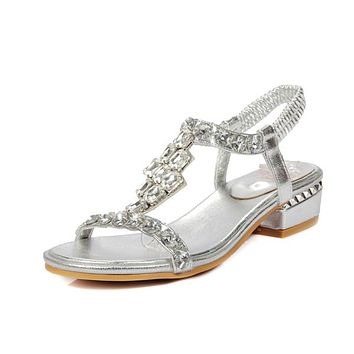 Women Open Toe Mid Heels Rhinestone Sandals