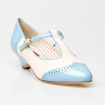 B.A.I.T. Dusty Blue & Cream Matte Ione Wingtip Spectator T-Strap Pumps