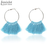 Bohemian Big Earring Colorful Tassel Hoop Earrings for Women Mother Gift Statement Jewelry Holiday Ornament Handmade