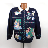 Ugly Christmas Sweater Vintage Sweatshirt Party Xmas Tacky Holiday Spumoni size L