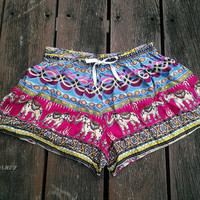 Pink Elephant Shorts Printed Comfy Beach Summer Hippie Exotic Boho Clothing Aztec Ethnic Bohemian Ikat Boxers Pants Thai Cloth Women Cute