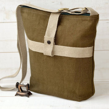 UNISEX French Messenger bag / Cross body bag in MOSS by ikabags