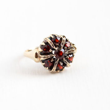 Vintage 10k Yellow Gold Garnet Cluster Ring - 1940s Size 6 1/2 Dark Red Gemstone Halo Flower January Birthstone Statement 1 CTW Fine Jewelry