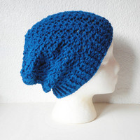 Peacock Blue Slouchy Skullcap Beanie Hat, ready to ship.