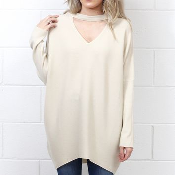 Hi-Lo Oversized Dolman Keyhole Sweater Tunic {Natural}