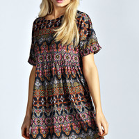 Jess Printed Smock Dress