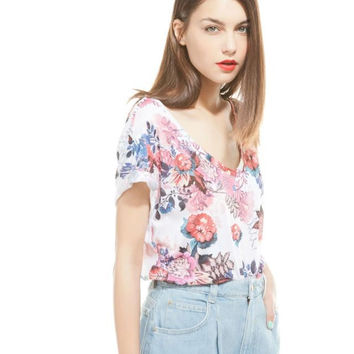 White Floral Print V-Neck Short-Sleeve Shirt