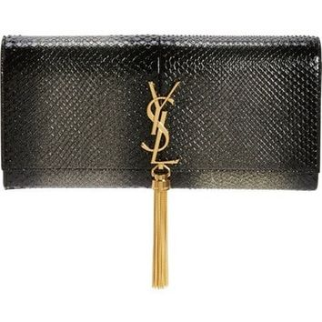 Kate Monogram Genuine Python Clutch