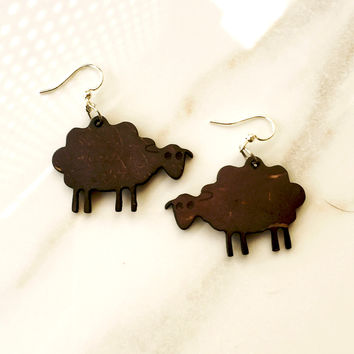 Coconut Sheep Earrings