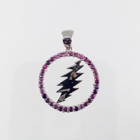 Grateful Dead, Sterling Silver Round 13 Point Bolt Pendant with Purple Sapphire Gems