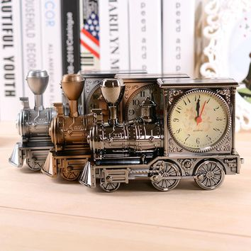 Classic Vintage Style Retro Locomotive Design Alarm Clock Desk desktop Table Clock Home Office Decor