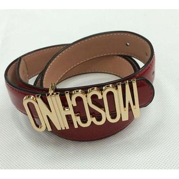 Moschino men's and women's tide brand fashion English letters high quality belt F