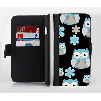The Subtle Blue Cartoon Owls Ink-Fuzed Leather Folding Wallet Credit-Card Case for the Apple iPhone 6/6s, 6/6s Plus, 5/5s and 5c