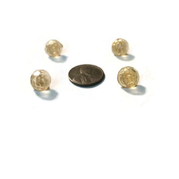 Antique Yellow Glass Dome Buttons 10mm - Textured Glass Vintage Shank Buttons #103