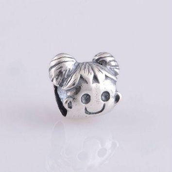 silver charms fits pandora and european bracelets cheeky girl charm