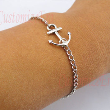 Anchorantique silver anchor braceletSailing times by CustomizeEra