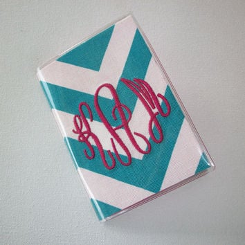 Passport Cover / Holder / Case - Chevron - Zig Zag - ZigZag - blue / turquoise custom monogram Personalized