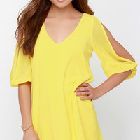 Shifting Dears Yellow Long Sleeve Dress