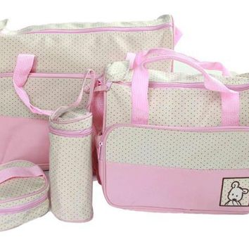 Hot!!! 5pcs/set Baby Diaper Bag Nappy Mummy Bag Print Maternity Handbag Changing Baby Messenger Bag