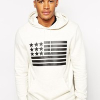 ASOS Hoodie With Flag Print - Oatmeal marl