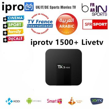 1 Year Europe Arabic IPTV android tv box  with 1500+ French UK portugal Germany Spain Africa Channels  Free Shipping