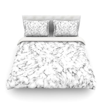 "Will Wild ""Marble"" White Gray Featherweight Duvet Cover"