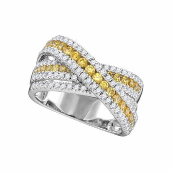 14kt White Gold Women's Round Canary Yellow Diamond Crossover Fashion Band Ring 1-3-8 Cttw - FREE Shipping (US/CAN)