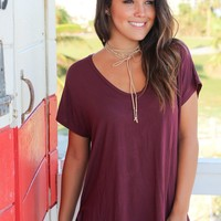 Burgundy Short Sleeve V-Neck Top