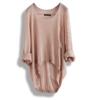 Women's Batwing Loose Asymmetric Round Neck Knitted Pullover Casual Sweater Fashion Sweater = 1920185092