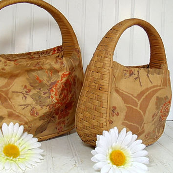 Matching Set of TriColor Wicker Handbags - Vintage Graduated Totes - BoHo Shabby Chic Carry All Baskets