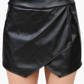 Faux Leather Cullotes Shorts
