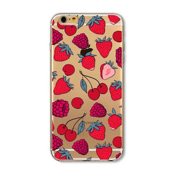 Lovely strawberry mobile phone case for iphone 5 5s SE 6 6s 6 plus 6s plus + Nice gift box 072701