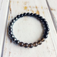 I Am Completely Grounded & Confident ~ Genuine Black Onyx, Hematite & Smokey Quartz Bracelet