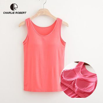 CR NEW Summer Women Modal Tank Tops Built In Bra Padded Bra Casual Tops Soft Plus Size