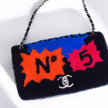 Chanel Patchwork No. 5 Caption 'comic' Shearling & Leather Flap Shoulder Bag